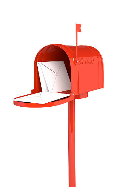 Open red mailbox with letters on white background. 3D illustration, render